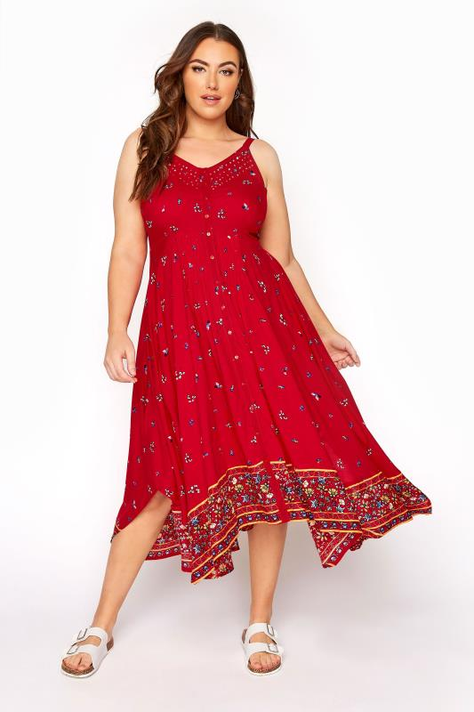 Red Border Hanky Hem Sundress