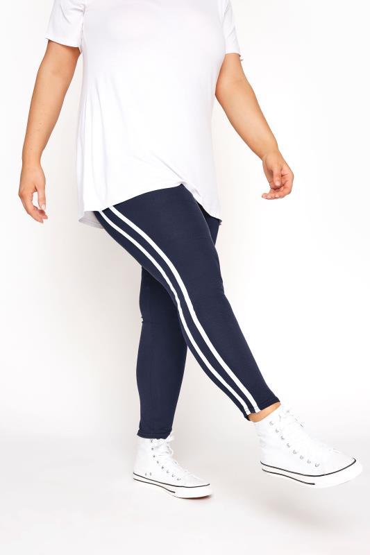 Navy Side Stripe Leggings