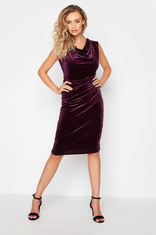 Tall  LTS Purple Cowl Neck Velvet Dress