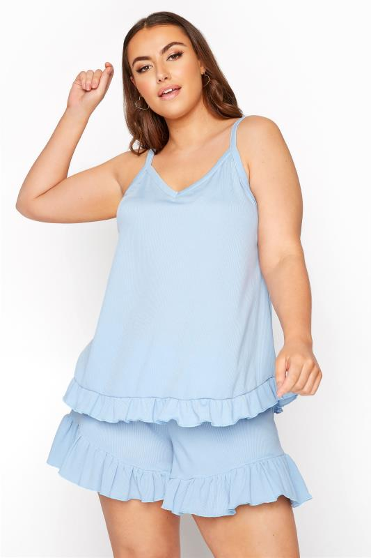 Plus Size  LIMITED COLLECTION Light Blue Frill Ribbed Pyjama Top