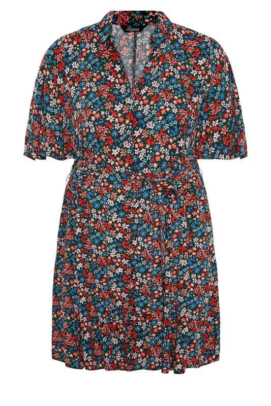 THE LIMITED EDIT Black Floral Print Shirt Mini Dress_F.jpg
