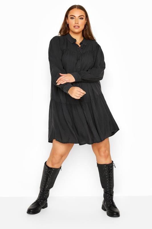 Plus Size  LIMITED COLLECTION Black Washed Denim Look Tiered Shirt Dress