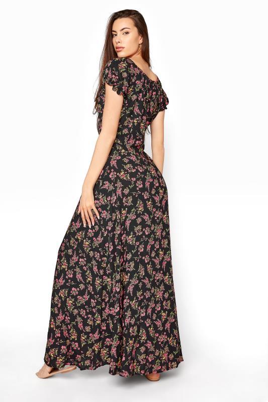 LTS Black Floral Puff Sleeve Corset Maxi Dress_C.jpg