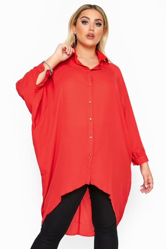Plus Size Shirts YOURS LONDON Red Oversized Dipped Hem Shirt