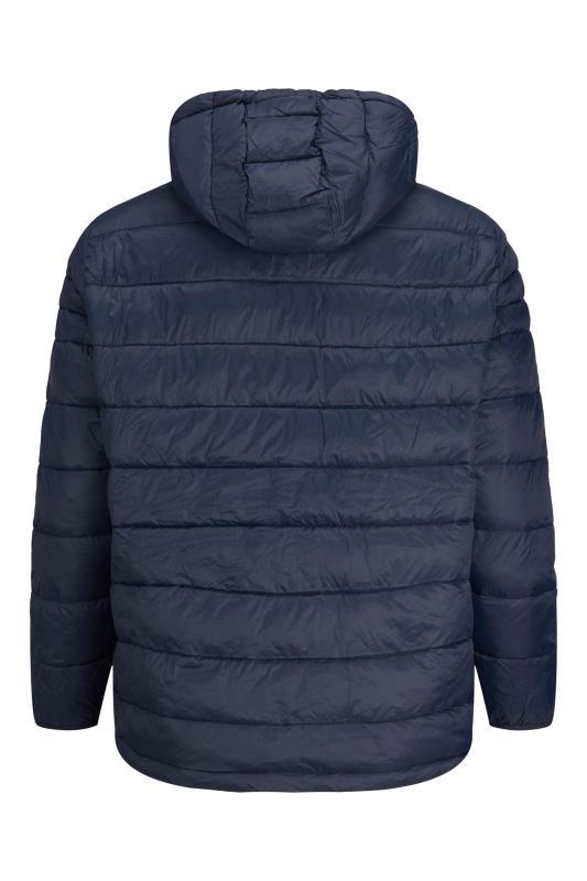 JACK & JONES Blue Hooded Puffer Coat_BK.jpg