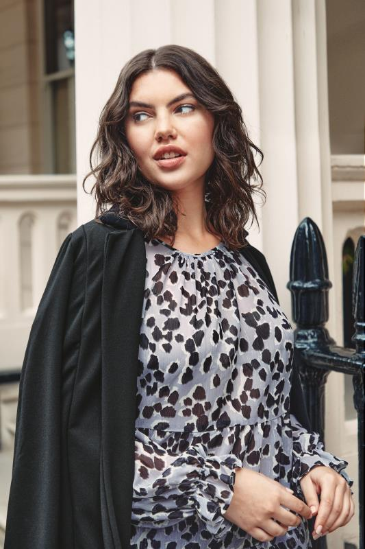 THE LIMITED EDIT Grey Leopard Frill Smock Blouse_L1.jpg