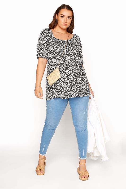 LIMITED COLLECTION Black Ditsy Print Square Neck Top