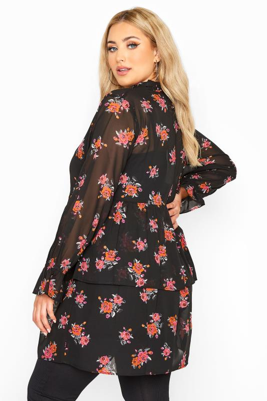 Plus Size  LIMITED COLLECTION Black Floral Tiered Bow Blouse