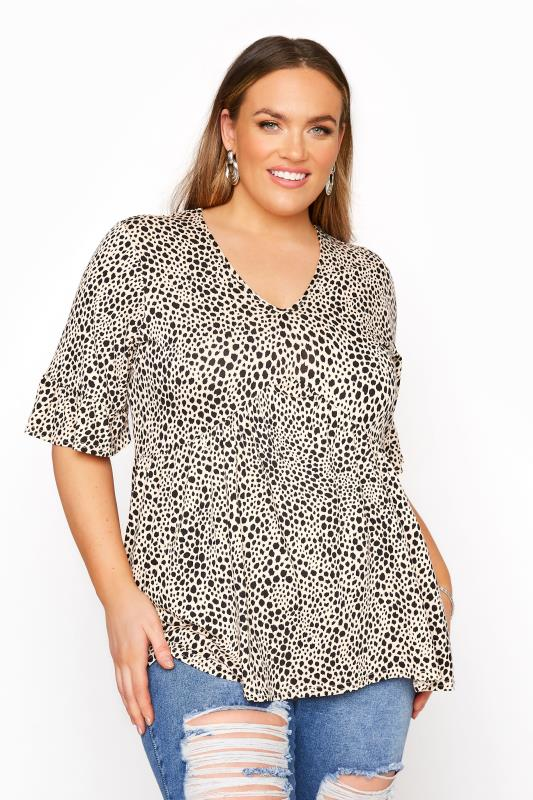 Tallas Grandes LIMITED COLLECTION Stone Dalmatian Print Frill Smock Top