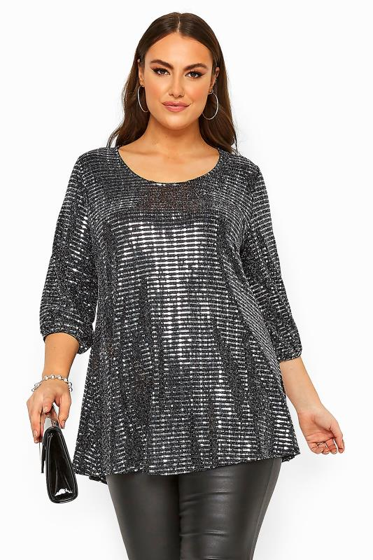 Plus Size  Black & Silver Sparkle Embellished Balloon Sleeve Swing Top