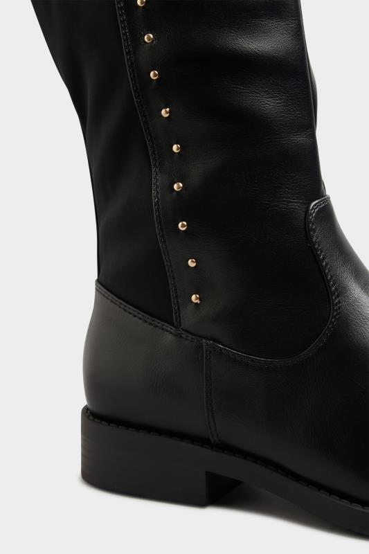 LIMITED COLLECTION Black PU Stud Over The Knee Boots In Extra Wide Fit_D.jpg