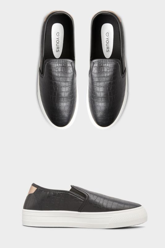 Yours Black Croc Platform Slip On Trainers In Regular Fit