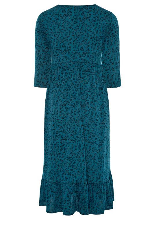 LIMITED COLLECTION Blue Floral Smock Midaxi Dress_BK.jpg
