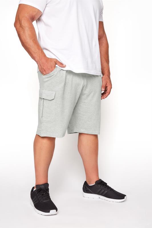 Men's  BadRhino Grey Marl Essential Cargo Jogger Shorts