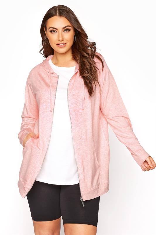 Plus Size  Pale Pink Marl Zip Through Hoodie