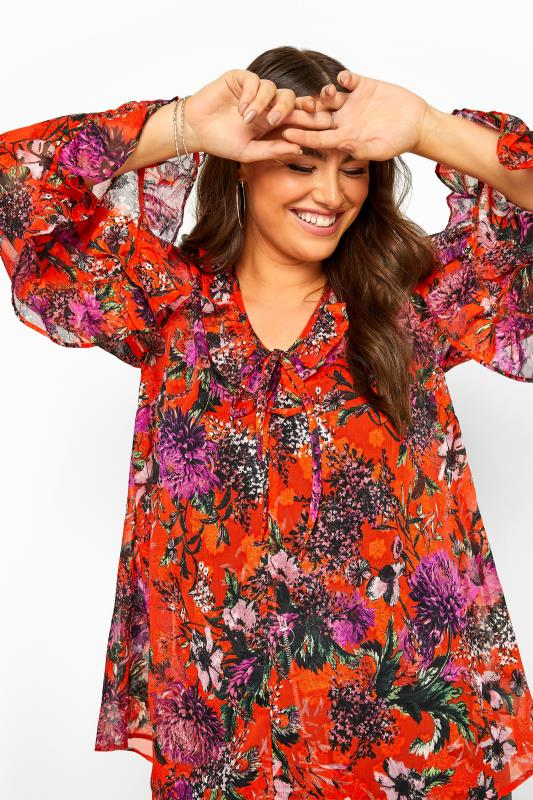 LIMITED COLLECTION Red Floral Flare Sleeve Chiffon Top