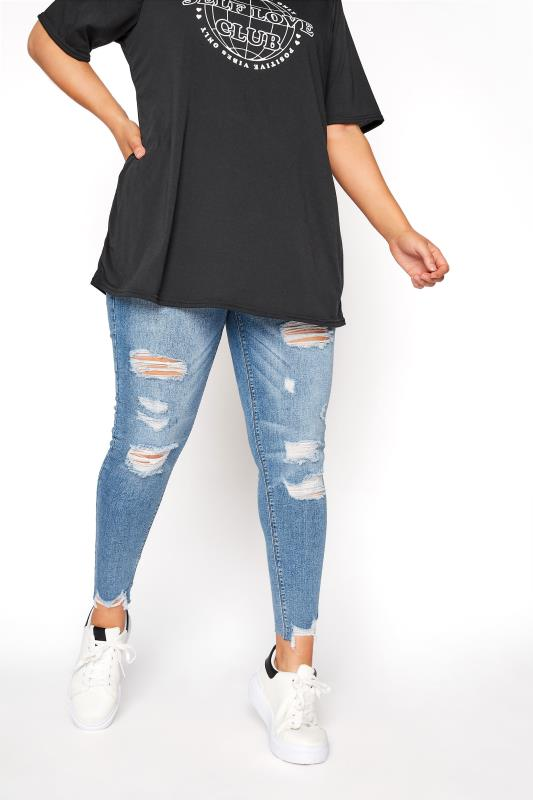 Plus Size  Mid Blue Extreme Ripped JENNY Jeggings