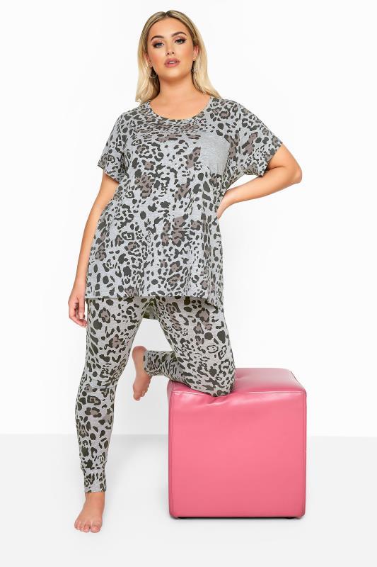 Pyjamas Grande Taille Grey Leopard Print Legging Pyjama Set