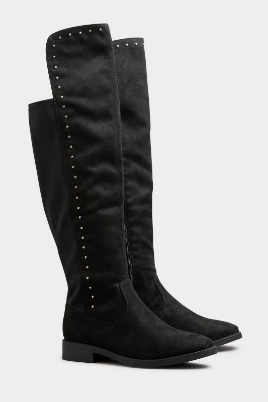 LIMITED COLLECTION Black Stud Over The Knee Boots In Extra Wide Fit_B.jpg