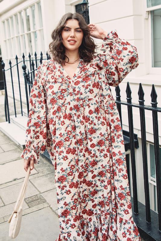 THE LIMITED EDIT Cream Floral Frill Smock Maxi Dress_L2.jpg