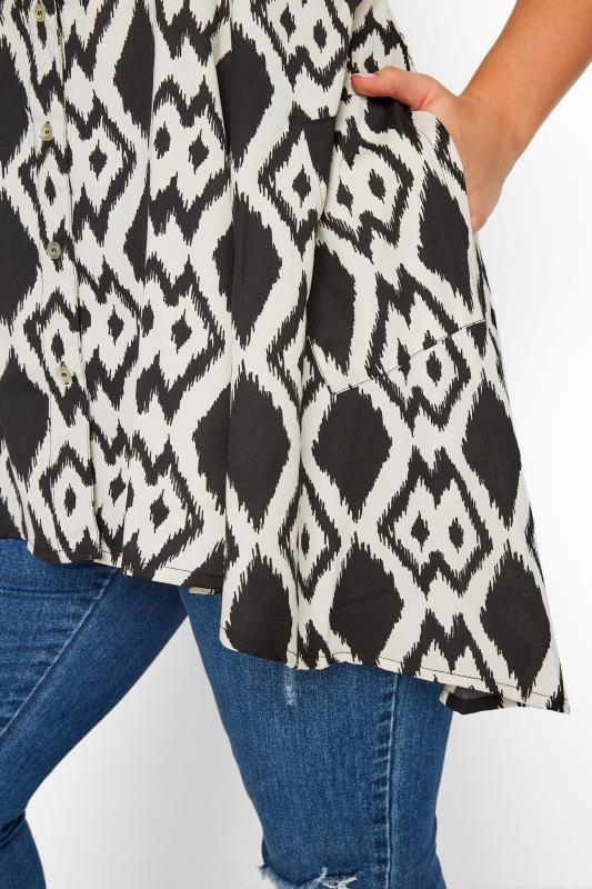 Black & White Ikat Print Sleeveless Chiffon Shirt