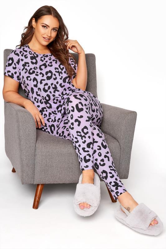 Plus Size  Purple Oversized Animal Print Pyjama Set