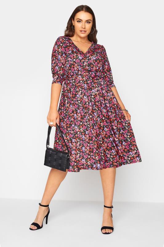 YOURS LONDON Black Ditsy Print Wrap Midi Dress_B.jpg