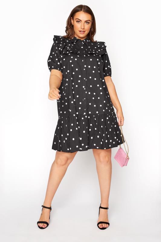 Black Frill Polka Dot Cotton Shirt Dress_B.jpg