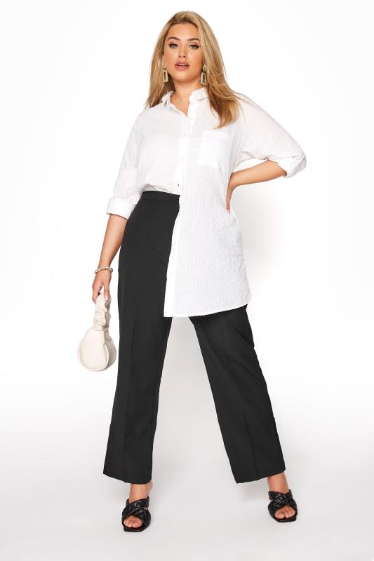 Black Classic Straight Leg Trousers With Elasticated Waistband_A.jpg