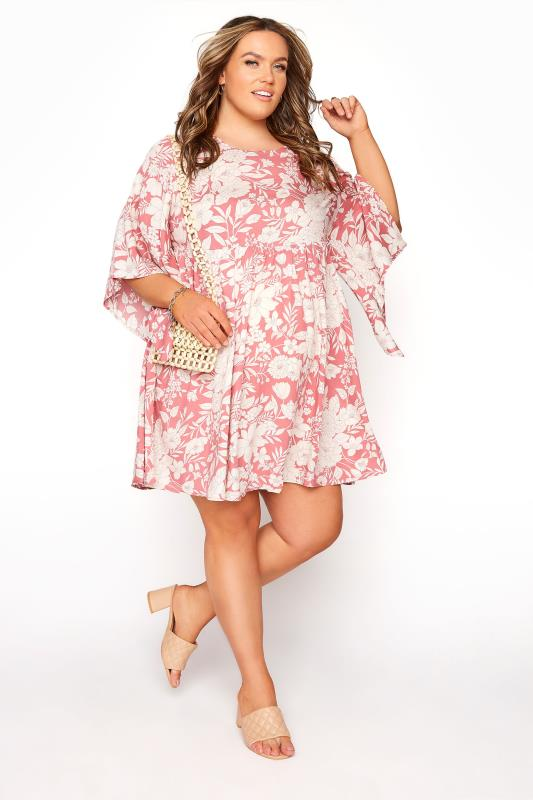 BUMP IT UP MATERNITY Pink Floral Smock Tunic_E.jpg
