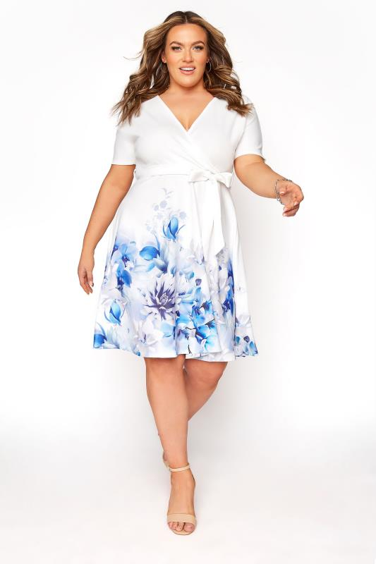 Plus Size  YOURS LONDON White Floral Border Skater Dress
