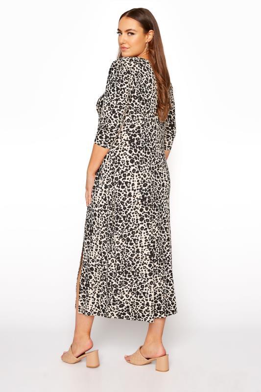 YOURS LONDON Beige Leopard Midaxi Split Dress_C.jpg