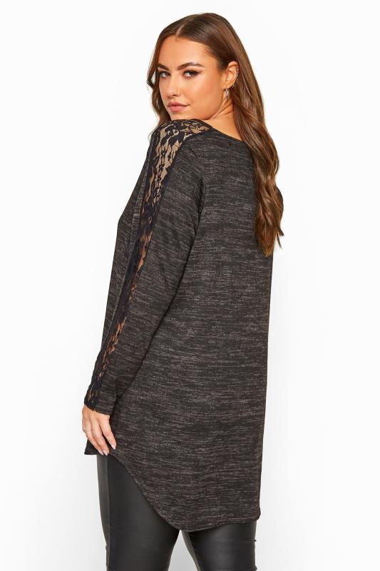 Charcoal Grey Marl Lace Sleeve Knitted Top