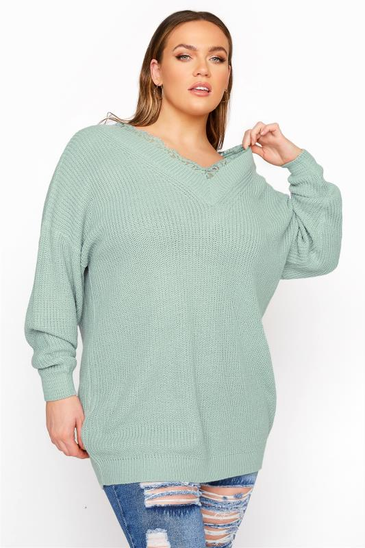 Plus Size  Mint Green Lace Oversized Knitted Jumper