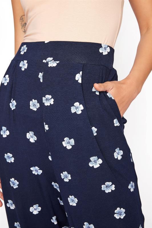 LTS Blue Floral Double Pleat Jersey Harem Trousers_D.jpg