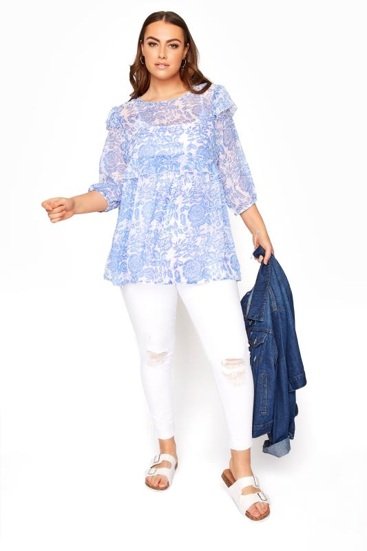 LIMITED COLLECTION Light Blue Frill Floral Blouse_B.jpg