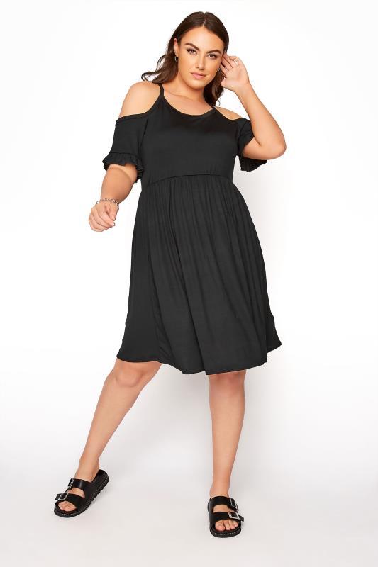 Plus Size  LIMITED COLLECTION Black Cold Shoulder Frill Hem Dress