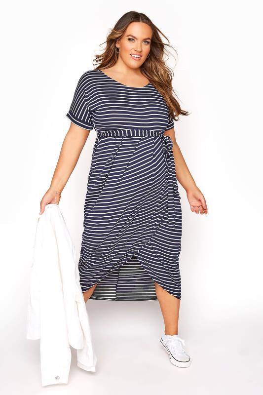 BUMP IT UP MATERNITY Navy & White Stripe Tie Waist Wrap Dress_B.jpg
