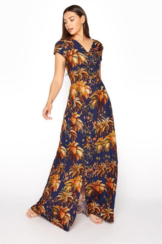 LTS Blue Tropical Button Down Maxi Dress