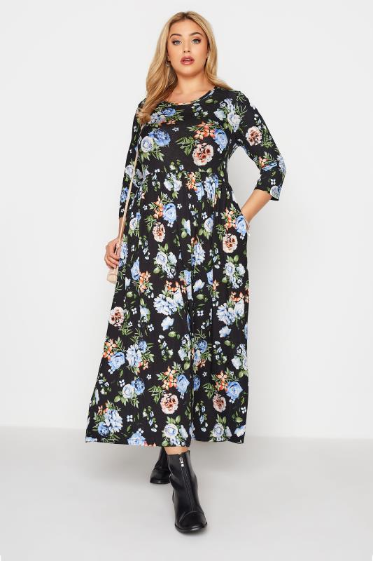 Plus Size  Black Pocket Floral Midaxi Dress