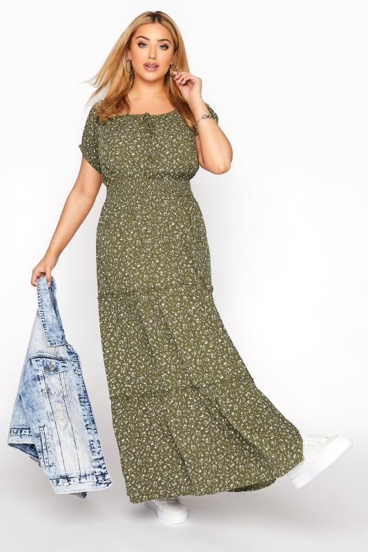 Khaki Ditsy Puff Sleeve Boho Smock Maxi Dress_B.jpg