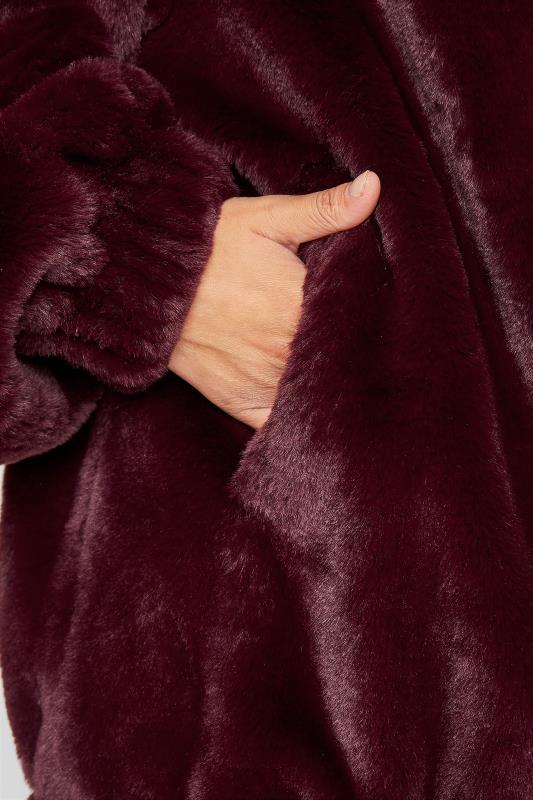 LTS Wine Red Oversized Faux Fur Jacket_E.jpg
