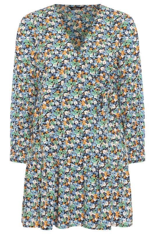 LIMITED COLLECTION Blue Floral Wrap Mini Dress_F.jpg