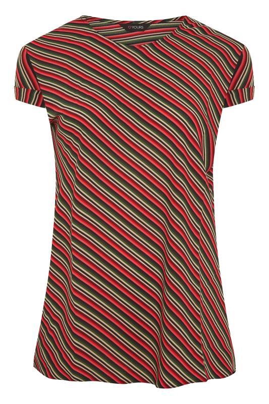 Plus Size  Red Multi Stripe Dipped Hem Blouse