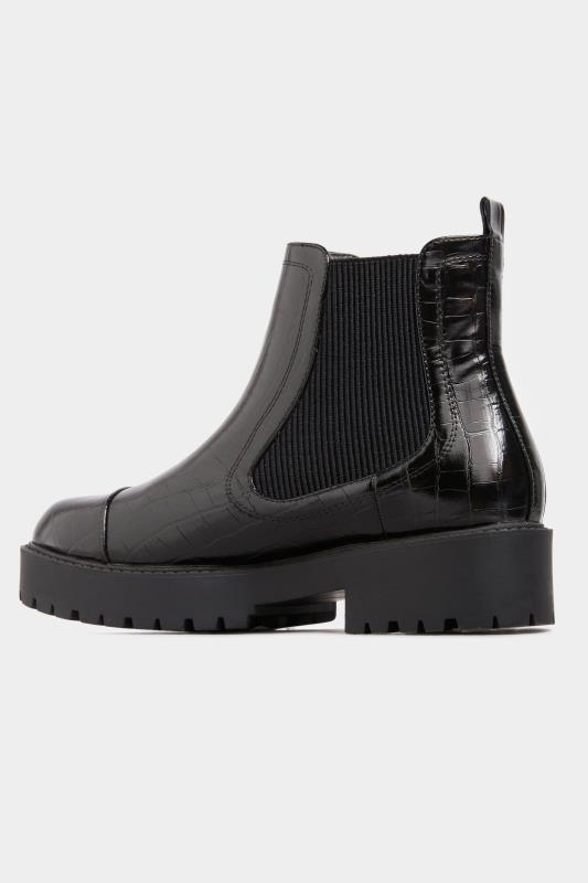 LIMITED COLLECTION Black Patent Croc Platform Chelsea Boots In Wide Fit_D.jpg