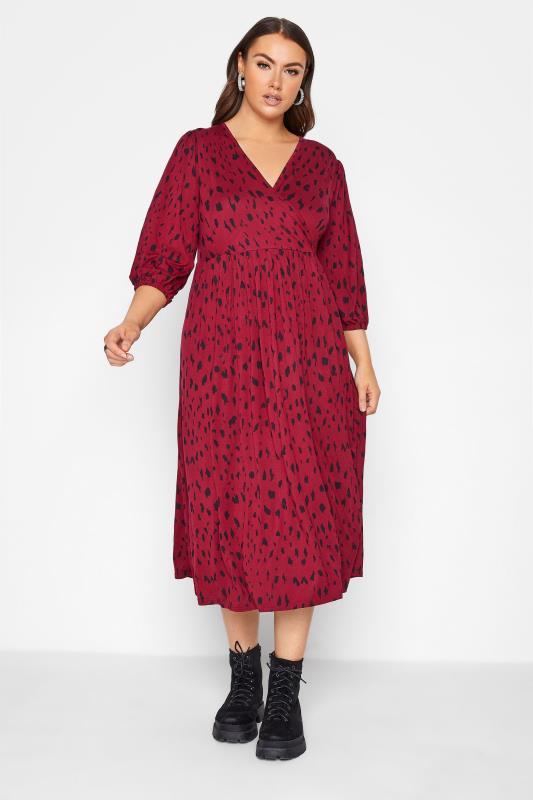 Plus Size  Wine Red Animal Markings Midaxi Wrap Dress