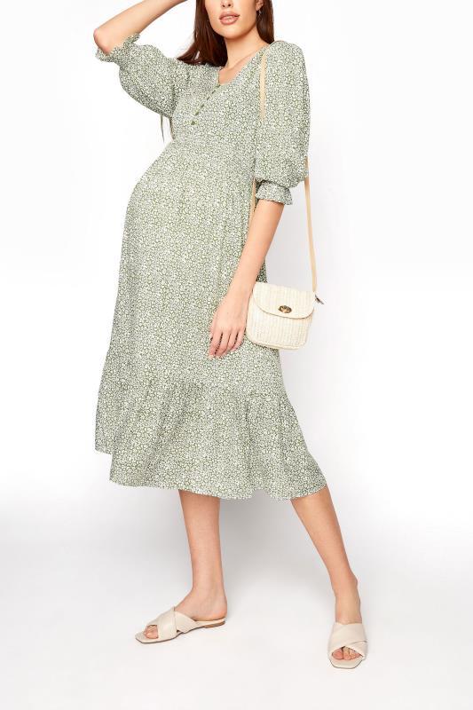 LTS Maternity Sage Green Ditsy V-Neck Button Tiered Midi Dress_B.jpg