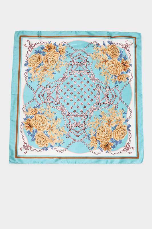 Aqua Blue Printed Satin Square Scarf_D.jpg