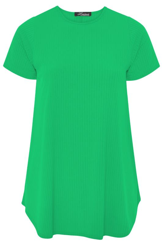 LIMITED COLLECTION Emerald Green Ribbed Short Sleeve T-Shirt_F.jpg