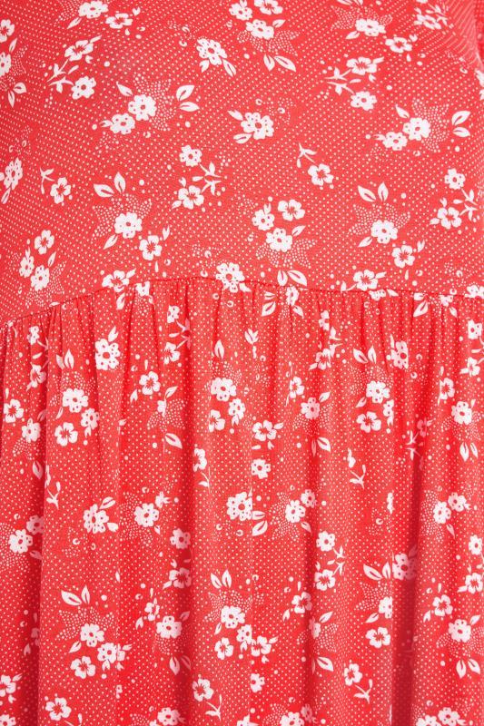 Red Floral Short Sleeve Midi Dress_S.jpg